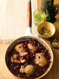 Pan-Seared Chicken Thighs with Balsamic-Cherry Sauce.  Good!  We both liked this.