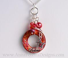 Handmade Super Charm 'Believe' Coral / Pink Tangerine Tango  www.AnnaPereiraDesigns.com