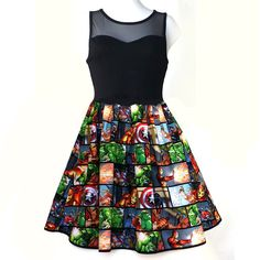 Valentine Day Women Dress Super Hero Dress Captain America Dress Hulk... (53 BAM) ❤ liked on Polyvore featuring dresses, day dress, skirts, black, women's clothing, transparent dress, sheer dress, crop dress, valentine's day dresses and see through dress