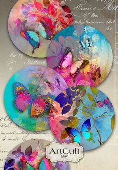 Printable Digital Collage Sheet MAGIC TOUCH inch size circle images for Pocket Mirrors cupcake toppers Magnets Paper Weights by ArtCultArtCult Printable Images are great for art and craft projects. These are digital files which you can print yourself Cd Crafts, Arts And Crafts Projects, Paper Crafts, Mini Toile, Cd Art, Art File, Butterfly Art, Digital Collage, Arts And Crafts