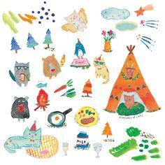 初めての森キャンプ|第1回 merlot holiday コンテストテーマ「merlotキャンプ!」|デザイン・イラストコンペSNS アトリエサーカス(ateliercircus) Kids Rugs, Texture, Small Businesses, Drawings, Illustration, Cards, Home Decor, Surface Finish, Decoration Home