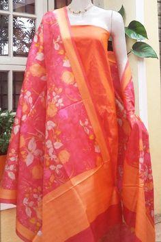 Silk Dupatta & Raw Silk Kurta Fabric Churidar Designs, Silk Suit, Silk Dupatta, India Beauty, Indian Ethnic, Ready To Wear, Kimono Top, Sari, Suits
