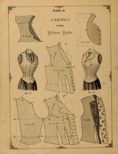 1890 - 1892 The cutters' practical guide to the cutting of ladies' garments by Vincent, W.What We Did When The Power Went Out (Sewing In Walden) The cutter's practical guide to the cutting of ladies' vest pattern for ladiesHow To Cut Vi Pattern Cutting, Pattern Making, Vintage Sewing Patterns, Clothing Patterns, Shirt Patterns, Dress Patterns, Sewing Designs, Coat Patterns, Patron Vintage