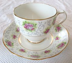 Vintage Tea Cup and Saucer, Bone China, by Roslyn with Purple Flowers