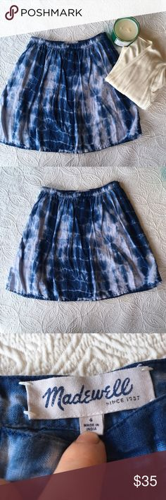 "Madewell Indigo Shibori Linen Skirt Totally adorable linen skirt from Madewell! Japanese shibori tie-dye technique makes this skirt so awesome and rare! Perfect for your entire summer. Waist measures 14"" length measures 19"". EUC Madewell Skirts Mini"