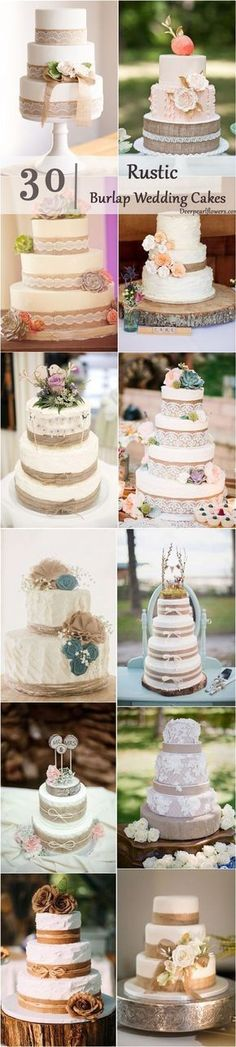 30 Burlap Wedding Cakes for Rustic Country Weddings / http://www.deerpearlflowers.com/rustic-country-burlap-wedding-cakes/