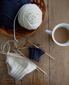 A mug of coffee or tea and your latest knitting project. Looks like our kind of morning! #knitting #diy #diycraft