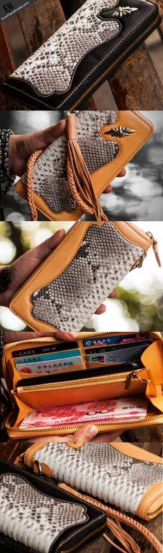Handmade leather python skin biker wallet clutch zip long wallet Wallet Chain, Clutch Wallet, Handmade Leather, Leather Craft, Pink Leather, Leather Men, Long Wallet Men, Crea Cuir, Leather Briefcase