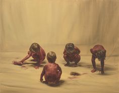 Michaël Borremans, Sixteen Dances, Fire from the Sun (Four Figures), 174 x 220 cm, oil on canvas Graphic Design Illustration, Illustration Art, Illustrations, Michael Borremans, Paintings I Love, Naive Art, Weird Art, Old Art, Art Studies