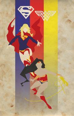 Supergirl & Wonder Woman Poster by Franklin Napier, via Behance