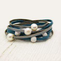 Pearl & Sterling Leather Wrap Bracelet