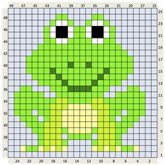 FROG 25 X 25 Center square for a Baby blanket C2c Crochet Blanket, Tapestry Crochet, Crochet Squares, Cross Stitch Cards, Cross Stitch Animals, Cross Stitching, Pixel Crochet, Crochet Chart, Crochet Patterns