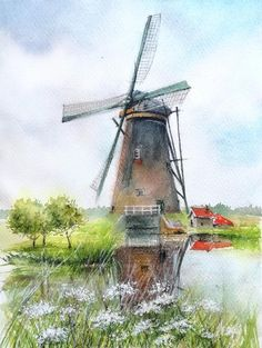 Easy Watercolor, Watercolour Tutorials, Watercolor Landscape, Windmill Art, Old Windmills, Oil Painting On Canvas, Watercolor Paintings, Original Paintings, Moulin France