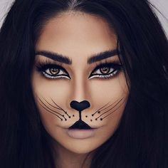 Are you looking for inspiration for your Halloween make-up? Browse around this site for cute Halloween makeup looks. Cat Face Makeup, Lion Makeup, Animal Makeup, Black Cat Makeup, Doll Makeup, Cat Halloween Makeup, Halloween Looks, Halloween Make Up Cat, Halloween Costume Makeup