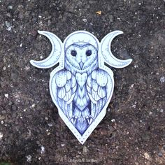 Owl Goddess Temporary Tattoo - Owl - Goddess Tattoo - Owl Temporary Tattoo - Nature Tattoo - Owls - Moon Tattoo