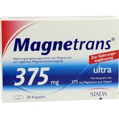 MAGNETRANS 375 mg ultra Kapseln:   Packungsinhalt: 20 St Kapseln PZN: 09207553 Hersteller: STADAvita GmbH Preis: 5,08 EUR inkl. 7 % MwSt.…
