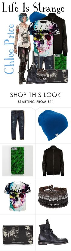 """Chloe Price from Life Is Strange (Genderbend)"" by imanirine ❤ liked on Polyvore featuring Hollister Co., Coal, River Island, Alexander McQueen, Ann Demeulemeester, Club Room, men's fashion, menswear, Punk and videogame"