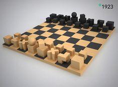 En este ajedrez de la Bauhaus prevalecen las formas rectas y geometrías básicas, que nos indican los movimientos que hacen cada una de las piezas