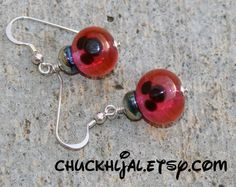 Pink Lampwork Glass Christmas Ornaments Mickey Mouse by chuckhljal, $32.00