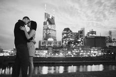 Nashville skyline engagement photo