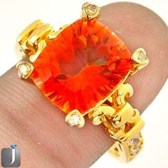 5.26cts ORANGE RAINBOW TOPAZ 14K GOLD 925 SILVER COCKTAIL RING SIZE 9 D18810 #jewelexi #RING