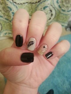 Black, grey, sparkle, with feather design shellac nails