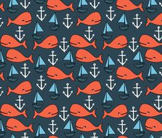 Nautical - Parisian Blue/CoralSoft Blue by Andrea Lauren fabric by andrea_lauren on Spoonflower - custom fabric Kids Patterns, Print Patterns, Nautical Baby Bedding, Nautical Wallpaper, Ocean Fabric, Custom Fabric, Fabric Shop, Fabulous Fabrics, Crib Sheets