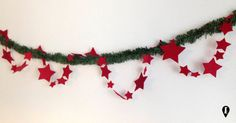 Filo di stelle ghirlanda decorativa in feltro  Felt stars garland di ELISABETOWN #garland #felt #stars #ghirlanda #stelle #feltro #Christmas #party #home #decor #Natale #festa #handmade