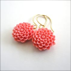 coral flower earrings