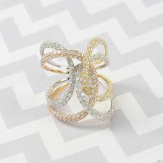 Tri-Tone Gold and Diamonds Fashion Ring