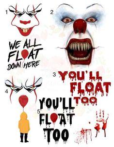 Waterslide Images clown You'll Float Too \ laser printed / laser decals / tumbler supplies \ yeti d Scary Movies, Horror Movies, Clown Images, Image Film, Scary Clowns, Tumbler Designs, Water Slides, Halloween Horror, Custom Tumblers