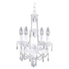 Add a pop of glamour to your entryway, foyer, or dining room with this charming mini chandelier, featuring draped beaded accents in antique white. ...