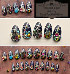 Pirate-inspired Treasure Box press on nails. For when you *really* want to stand out! These are sold out, but I could make a similar set as a custom order for you. #pirates #blingnails #pressonnails #blinglife