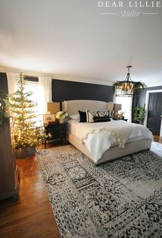 Seasons of Home - Christmas Master Bedroom - Dear Lillie Studio Dream Bedroom, Home Decor Bedroom, Bedroom Ideas, Bedroom Beach, Decor Room, Home Interior, Interior Design, Master Bedroom Makeover, Dark Master Bedroom