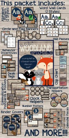 Rustic Woodland Animals Complete Classroom Decor Set! Over 500 pages of ready to print pages and over 40 pages of editable elements! Adorable fox, racoon, skunk, squirrel, deer, and owl clip art!