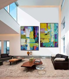 Set Of 2 Large Contemporary Painting Abstract by CelineZiangArt Más