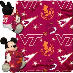 Disney Ncaa Hugger Pillow and 40 inch x 50 inch Throw Set, Virginia Tech Hokies, Multicolor