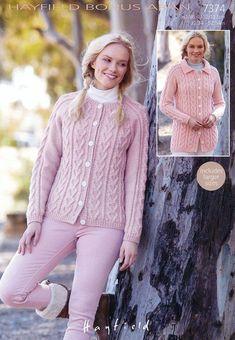 14226fc0532b Womens Round Neck and Flat Collared Cardigans in Hayfield Bonus Aran ( –  Deramores Wool Shop