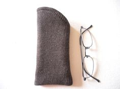 Reading Glasses Soft Case, Brown Glasses Cover, Glasses Pouch, Mens Glasses Holder, Padded Sleeve  is 3 1/4'' wide and long side is 7'' high
