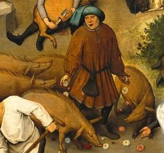 Click on the image to see the detail in a zoomable context.  Detail from The Dutch Proverbs, Pieter Bruegel the Elder, 1559  To cast roses before swine  To waste effort on the unworthy