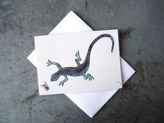 Lizard and Fly Art Greeting Card  Beach  Desert by PatWarwickTiles, $3.50