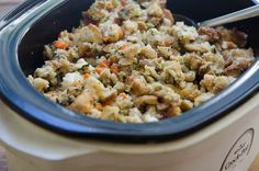 Free up oven space on the holidays with this Traditional Bread Stuffing Crock Pot Method. This beloved recipe is a family favorite!