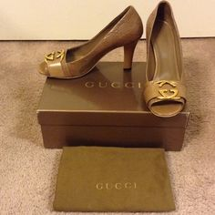"""Authentic Gucci Dressage GG peep toe pump Authentic Gucci Dressage GG peep toe pump. Caramel leather with embossed GG logo and gold GG logo plate on toe. Leather sole with 3.5"""" heel. Only worn a few times,  excellent condition. Includes original box and dustbag. Gucci Shoes"""