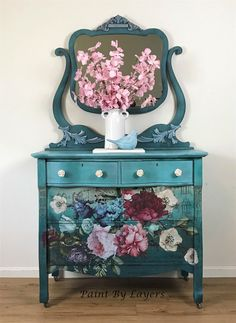 SOLD but I can recreat this look on another piece in my inventory Antique Blue Dresser Vanity with custom floral design Decoupage Furniture, Chalk Paint Furniture, Hand Painted Furniture, Upcycled Furniture, Diy Furniture, Furniture Design, Furniture Making, Blue Dresser, Dresser Vanity