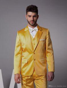 67133ad148c0d Latest Coat Pant Designs Yellow Satin Men Suit Slim Fit Skinny 3 Piece  Tuxedo Custom Fashion