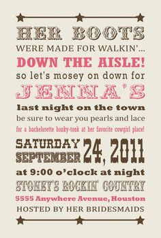 Country western bachelorette party invitation by sweetbeeshoppe i like the theme of the invites for the bachelorette party but i know my stopboris Choice Image