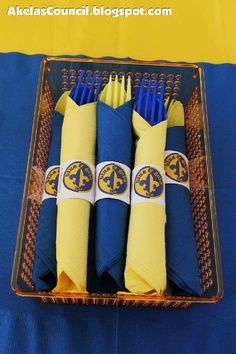 blue and gold dinner decorations | Paper Napkin Ring PRINTABLE for the Blue & Gold Banquet. This site has ...