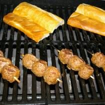 Meatball kebabs on the grill
