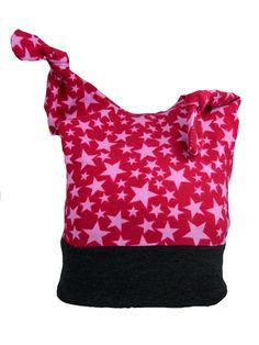 Knotenmütze Kind baby rosa Sterne Baumwolle Jersey Sommer 3-12 Monate