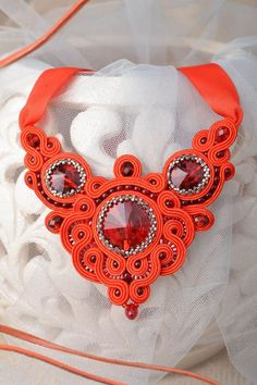 MADEHEART > Beautiful handcrafted soutache necklace with beads and natural stones Soutache Necklace, Ribbon Necklace, Fabric Necklace, Red Necklace, Red Jewelry, Beaded Jewelry, Handmade Jewelry, Jewelery, Cute Gifts
